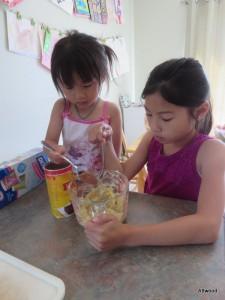 Making Banana Fudgsicles