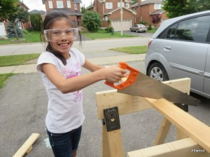 We needed to cut some wood to create the second catapult.  Don't worry, this was staged for the blog.