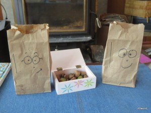 The pair of them also went on an acorn hunt and came back to the infamous candy bags.