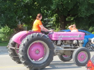 Of course the girls loved the pink tractor....