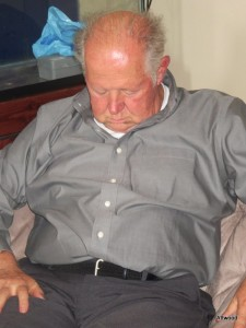 Dad had to sleep off the effects of too much food.