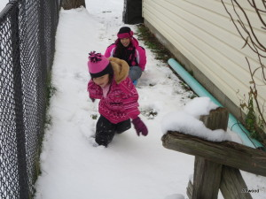 They also broke out the sleds.  After a few rides, Elspeth decided to give her sister a ride.