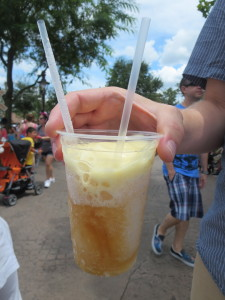 Frosty apple cider slush with a hint of pineapple and some marshmallow foam.