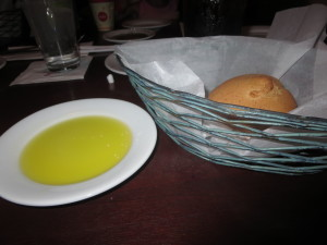 My warm rolls came with my very own olive oil dip plate.