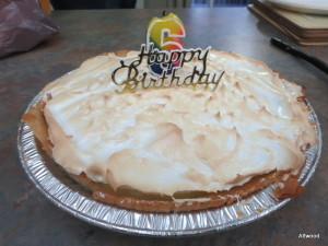 On Sunday, her sister baked her a GF lemon pie so we all enjoyed.