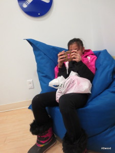She really loves the giant bean bags in the waiting area at physio.