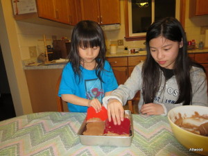They made chocolate brownies with Grandmum.