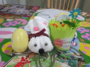 Our table decorations included these that Elspeth made at Sparks.