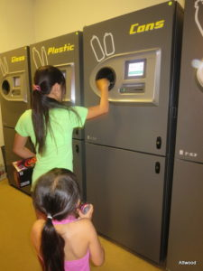 Oh, and the girls had fun using the can recycling machines.