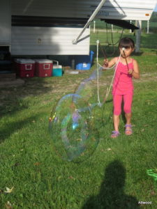 One of the families brought mega-bubbles.